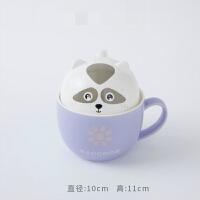 可爱杯子陶瓷带盖勺麦片早餐杯牛奶咖啡马克杯创意超萌少女心水杯 该项请下,高温陶瓷,两用杯