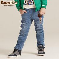 【1件4折 2件3折到手价:179】Pawinpaw宝英宝卡通小熊童装冬款男童牛仔裤长裤