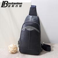 波斯丹顿真皮胸包韩版牛皮男包男士单肩包斜挎包拉链休闲小背包B5153021