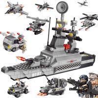 群隆将牌闪电突袭未来隐形战舰拼装积木小颗粒儿童启蒙玩具