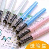 白雪直液式走珠笔0.5黑色碳素中性笔学生用直液笔签字水笔韩国小清新创意可爱针管式可换墨囊替换笔芯圆珠