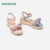 【限时特惠 1件4折】女士坡跟凉鞋一字扣带休闲凉鞋H55W9210