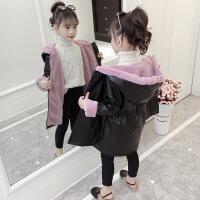 女童皮衣棉衣外套2018新款韩版洋气时尚时髦冬装中长款加绒潮