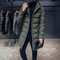 2018冬季新款连帽修身男士中长款加厚棉袄外套韩版帅气棉衣潮