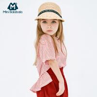 【每满299元减100元】迷你巴拉巴拉女宝宝短袖T恤2019夏新款花苞袖条纹海军风童装上衣