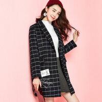 拉夏贝尔格字毛呢大衣女韩版休闲双排扣冬装长袖西装领中长款外套