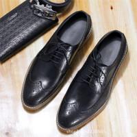 DAZED CONFUSED男鞋子商务办公牛皮鞋秋冬英伦风布洛克休闲上班鞋2017新款秋天