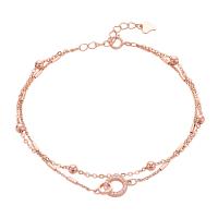 925银手链女韩版简约个性学生圆珠双层手环ins风镀玫瑰金手链
