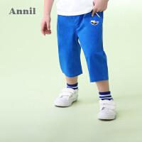 【3件3折:59.7】安奈儿童装男小童全腰梭织七分裤夏装新款