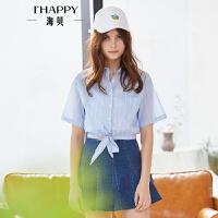 海贝2018夏季新款女装 翻领短袖条纹下摆系带打结短款全棉衬衫