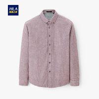 HLA/海澜之家时尚磨毛长袖衬衫2019冬季新品格纹加绒长衬男