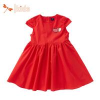 红蜻蜓童装 2018年夏季新款短袖连衣裙女童梭织连衣裙多色印花裙