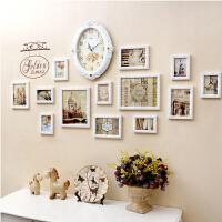 钟表照片墙 相框墙 简约现代 客厅相片墙 创意组合相框墙 13框