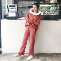 时尚套装女秋冬韩版宽松加绒加厚长袖连帽卫衣+阔腿裤两件套女