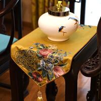 中式绣花桌旗中国风古典桌布客厅餐桌电视柜茶几布艺床旗