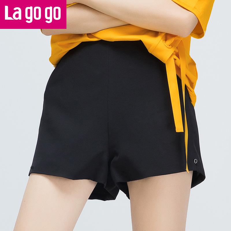 【两件5折后价84.5】Lagogo拉谷谷2017夏季新款女装直筒纯色百搭裤子高腰休闲短裤女