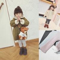 女童打底裤冬季新款条纹复合绒一体韩版中小童百搭童装长裤