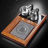 功夫茶具花梨木单层家用喝茶茶盘办公室时尚乌金石茶盘带电磁炉盘 花梨木茶盘