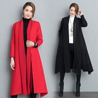 秋冬新款韩版修身双面羊毛呢大衣中长款中国风复古纯色外套女