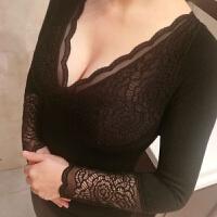 季无袖低领保暖背心女士加绒加厚蕾丝性感打底保暖内衣修身上衣 黑色长袖 建议80-130斤 均码