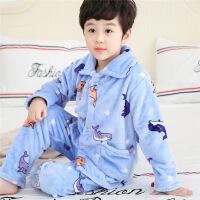 秋冬季儿童法兰绒睡衣套装珊瑚绒宝宝小孩男童男孩女童加厚家居服
