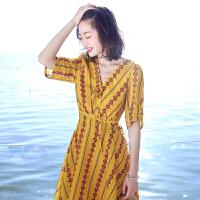 ZAH正品2017夏季新品韩版女装修身系带气质雪纺连衣裙海边度假沙滩裙中裙 图片色XZ17A571