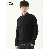 GXG毛衫男装 秋季青年男士时尚韩版黑色圆领保暖毛衣毛衫男