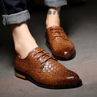 DAZED CONFUSED英伦复古皮鞋男商务休闲系带正装鞋发型师尖头内增高潮鞋