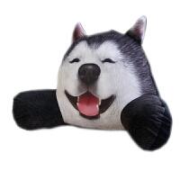 3D二哈狗狗哈士奇床头拆洗抱枕靠垫办公室护腰靠枕腰垫椅子靠背垫 55*33厘米