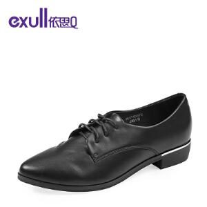 依思q秋季新款复古尖头舒适低跟女鞋潮流系带单鞋女-