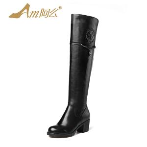 【冬季清仓】阿么头层牛皮粗跟绒里冬靴牛皮过膝靴帅气骑士靴英伦女长靴子