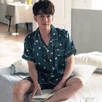 夏季情侣睡衣女冰丝短袖薄款套装开衫韩版丝绸男士大码家居服夏天