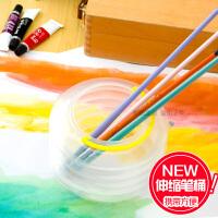 柏伦斯透明伸缩洗笔桶 油画 水粉 水彩 丙烯颜料洗笔筒 洗笔器
