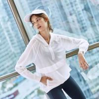 运动上衣女夏新款连帽长袖镂空宽松休闲速干透气瑜伽专业健身衣