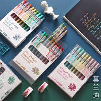 莫兰迪色系中性笔套装学生用手帐文具简约韩国彩色水笔按动式创意可爱彩笔做笔记专用多色一套手账笔签字治愈