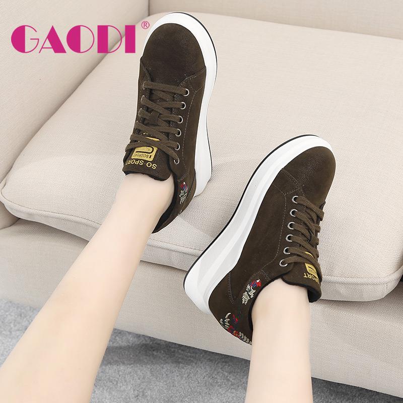 高蒂内增高女鞋冬季加绒棉鞋新款韩版系带星星鞋松糕跟平底休闲鞋