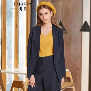 海贝2018春季新款女装 纯色气质西装领一粒扣长袖亚麻修身短外套