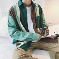 新款韩版宽松男长袖衬衫 潮流拼色衬衫 男复古撞色长袖衬衣