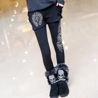 潮牌打底裤裙裤女士秋冬季新加绒加厚外穿假两件显瘦时尚休闲 黑色