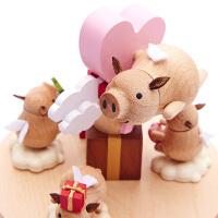 音乐盒木质八音盒女生生日礼物飞天小猪旋转儿童创意旋转 飞天小猪