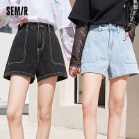 森马牛仔短裤女宽松大口袋潮牌A字2021夏季新款经典基础易搭裤子