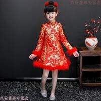 儿童旗袍2018新款冬季加厚加绒女童新年装中国风红色唐装拜年衣服