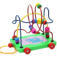 拖拉学步拖车绕珠串珠宝宝儿童早教智力玩具拖车绕珠迷宫
