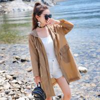 防晒衣女中长款夏季新款宽松大码防晒服沙滩防晒衫防紫外线薄外套