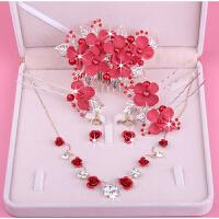 新娘红色玫瑰花项链 新娘结婚玫瑰花软头饰项链耳环三件套 2号三件套耳环针款(有耳洞) 礼盒包装