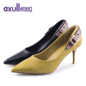 依思q时尚皮尖头浅口后跟女鞋细跟高跟潮单鞋