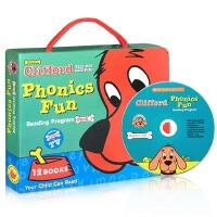 【全店300减100】英文原版绘本 大红狗系列 Clifford PhonicFun Pack 1 附原版CD 趣味自然