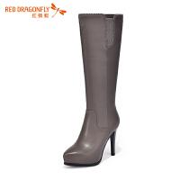 红蜻蜓 尖头细跟高跟牛皮高筒靴女长靴
