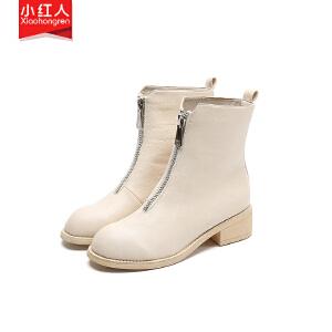 小红人【年终狂欢】2018新款PU加绒短靴女鞋子中跟粗跟春秋英伦拉链短筒靴百搭女靴子W1101