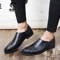 米乐猴 潮牌布洛克英伦男鞋时尚鳄鱼纹压花尖头小皮鞋男士商务休闲皮鞋男男鞋
